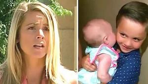 Naapuri avaa oven ja näkee 5-vuotiaan vauva sylissään. Hetken kuluttua hän tajua