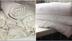 Hänen vanhat pyyheliinansa ovat valkoisia kuin uudet. Hyödynnä tämä pyykinpesuko