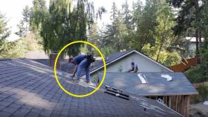 Kattotyöskentelijät työskentelevät rauhassa, kunnes joku laittaa musiikin soimaa