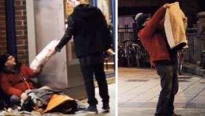 Muukalainen antaa uuden takin kodittomalle, sitten piilotettu kamera tallentaa j